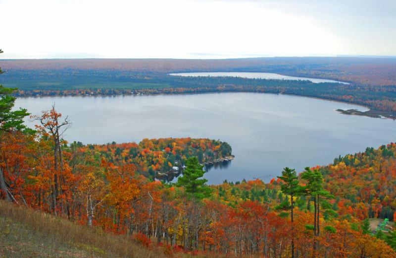 Lake view at Aqua Log Cabin Resort.