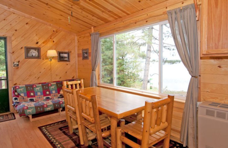 Cabin interior at Moose Track Adventures Resort.