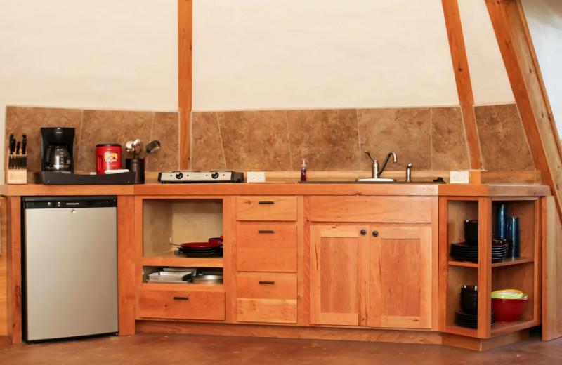 Teepee kitchenette at Geronimo Creek Retreat.