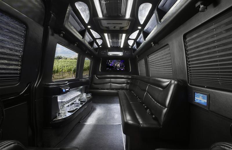 Tour limo interior at Cottage Grove Inn.