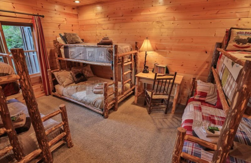 Rental bunk beds at Blue Sky Cabin Rentals.
