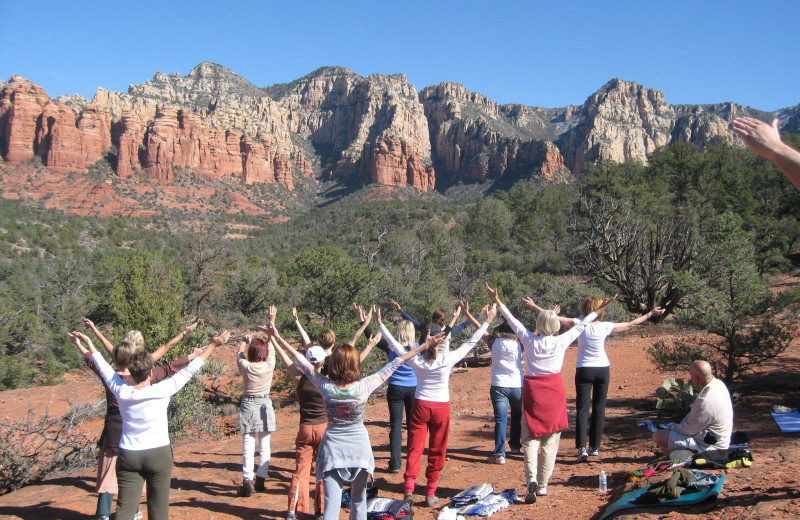 Outdoor fitness classes at Sedona Rouge Hotel.