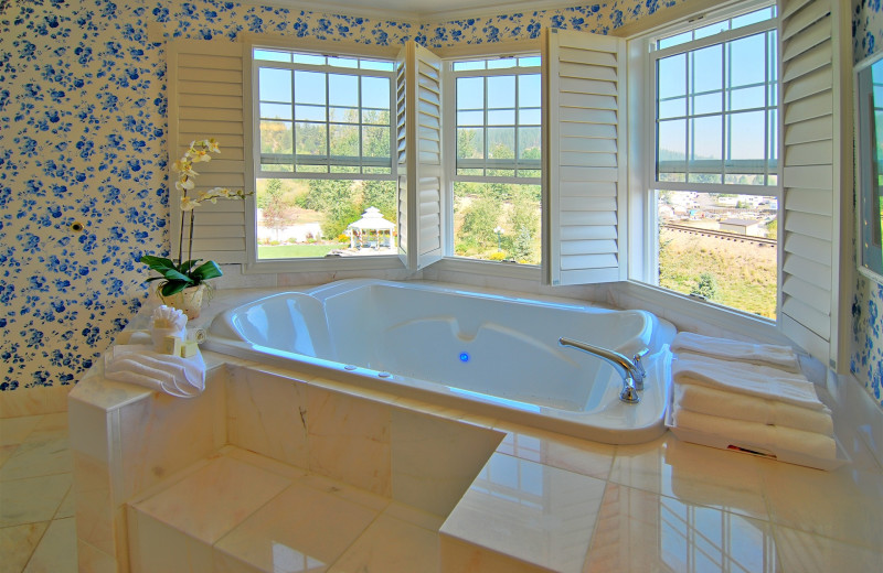 UltraBath Therapy tub for two has a view of the trees and mountains.  Rain Shower.  Kitchenette.  Enjoy listening to the waterfalls outside your windows at night.  The Ashley Inn