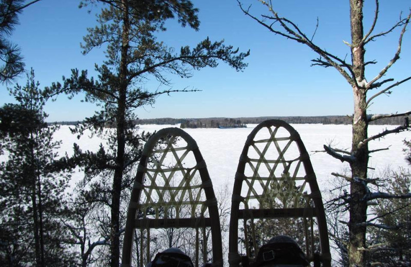 Snowshoeing at Sandy Point Lodge.