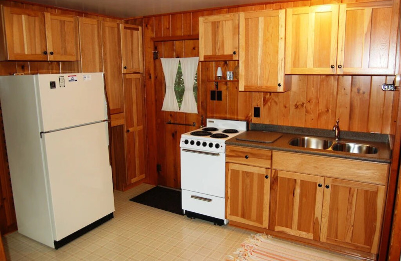Cottage kitchen at Fisher's Lakeside Cottages.