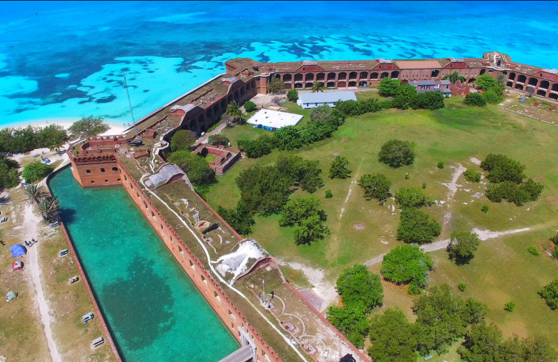 Aerial view of fort at Island City House Hotel.