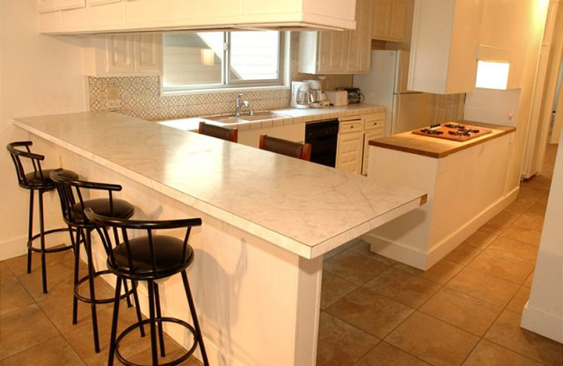 Rental kitchen at Sandy Beach Rentals Inc.