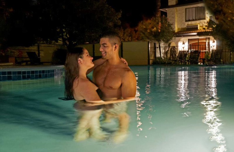 Couple in pool at Roman Spa Hot Springs Resort.