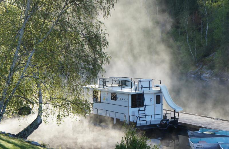 Morning fog at Ebel's Voyageur Houseboats.