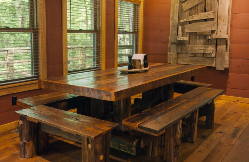 Dining Room at Nantahala River Lodge.  Table made from reclaimed wood from our Family Farm