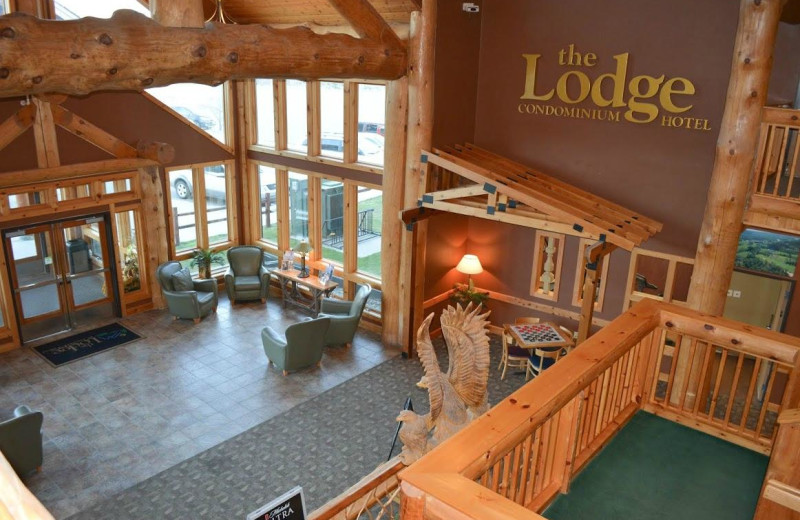 Lobby at The Lodge at Giants Ridge.