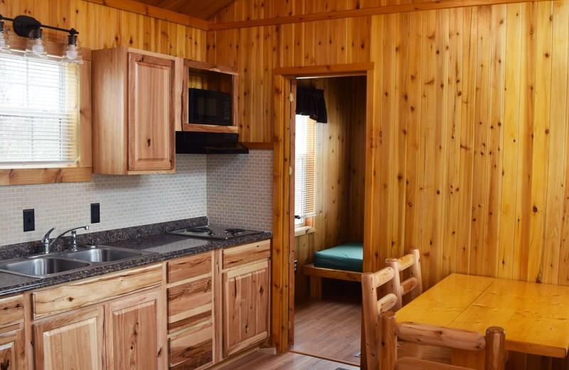 Cabin kitchen at Yogi Bear's Jellystone Park Hagerstown.