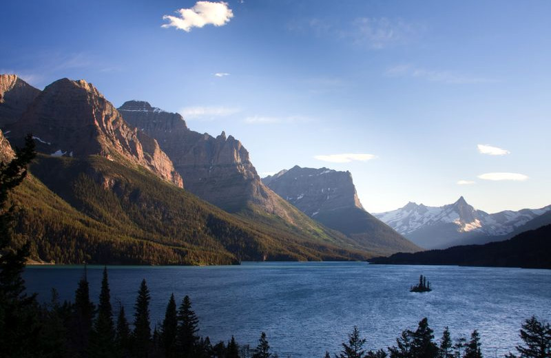 Mountains and lake at Glacier National Park near North Forty Resort.