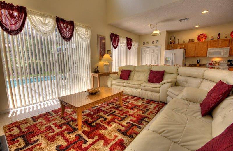 Vacation rental living room at Elite Vacation Homes.