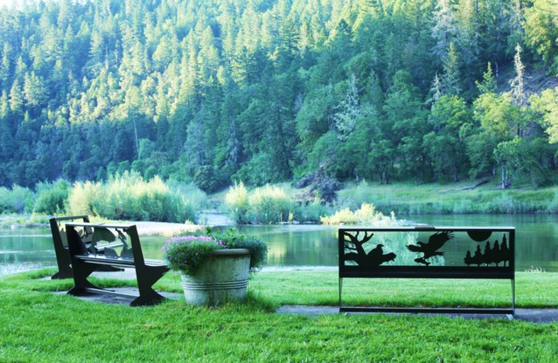 Benches by the water at Morrison's Rogue River Lodge.