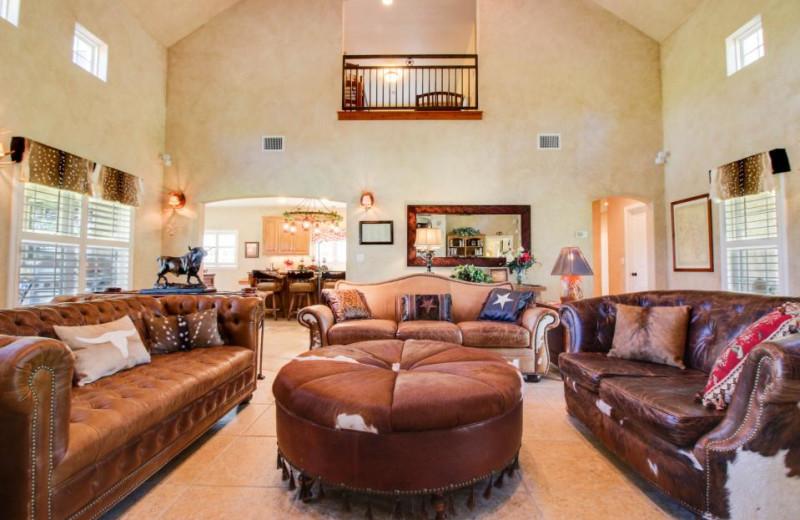 Rental living room at Vacasa Fredricksburg.