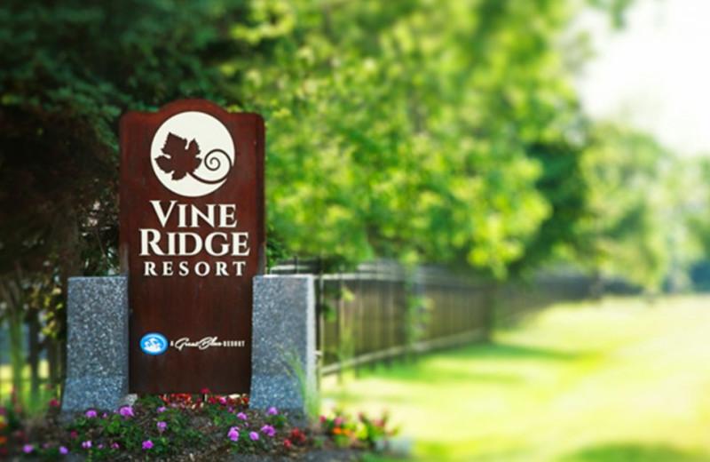 Welcome sign at Great Blue Resorts- Vine Ridge Resort.