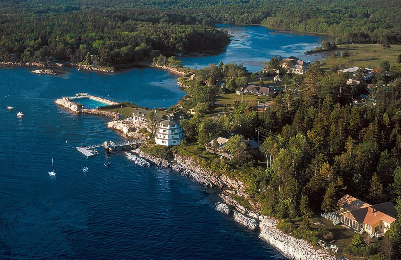 Aerial view of Sebasco Harbor Resort.