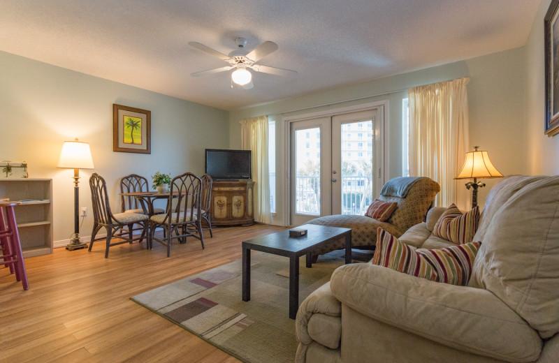 Rental living room at Grand Caribbean Resort.