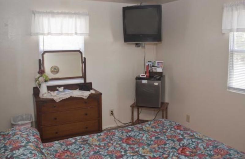 Motel bedroom at Blue Horizon Lodge.