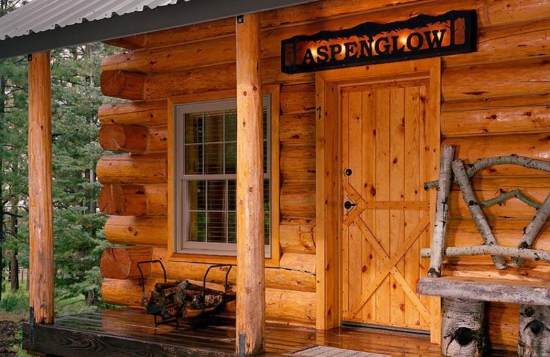 Cabin exterior at Hidden Meadow Ranch.