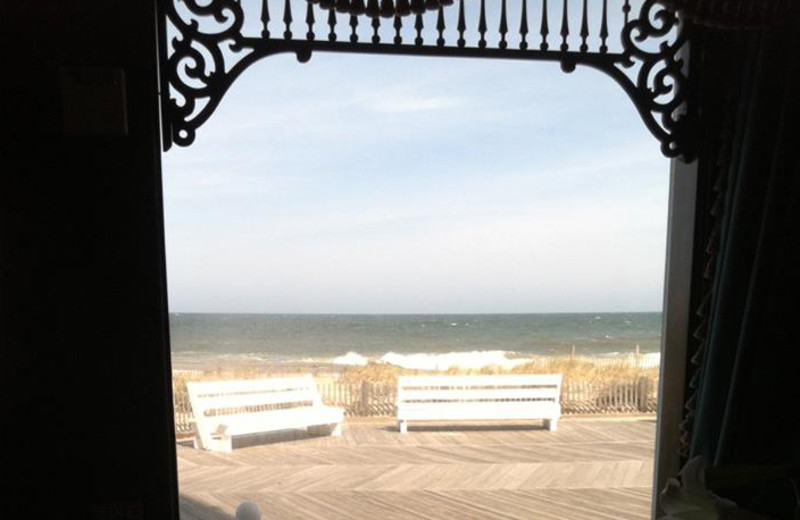 View of beach at Boardwalk Plaza Hotel.