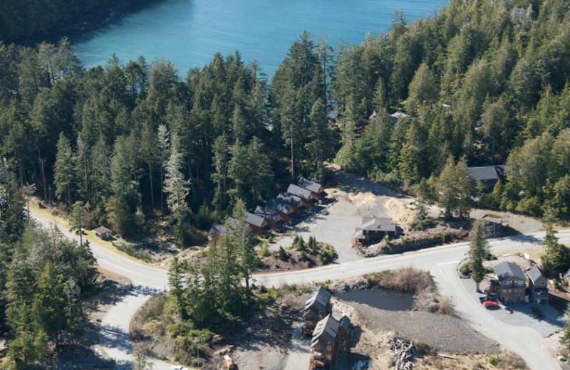 Aerial view of The Cabins at Terrace Beach.