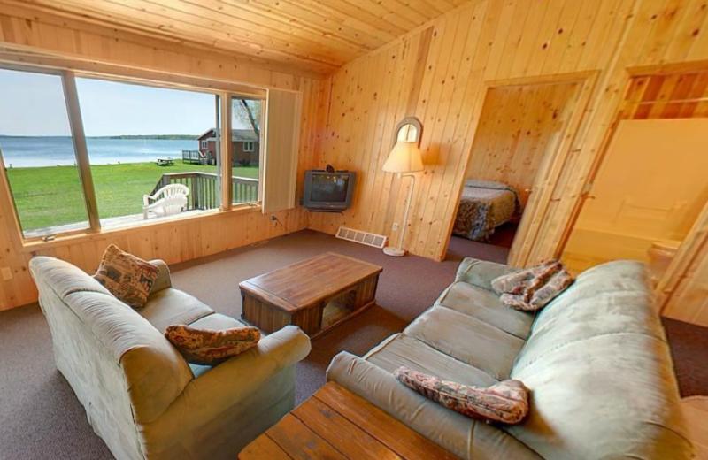 Cabin living room at Hiawatha Beach Resort.