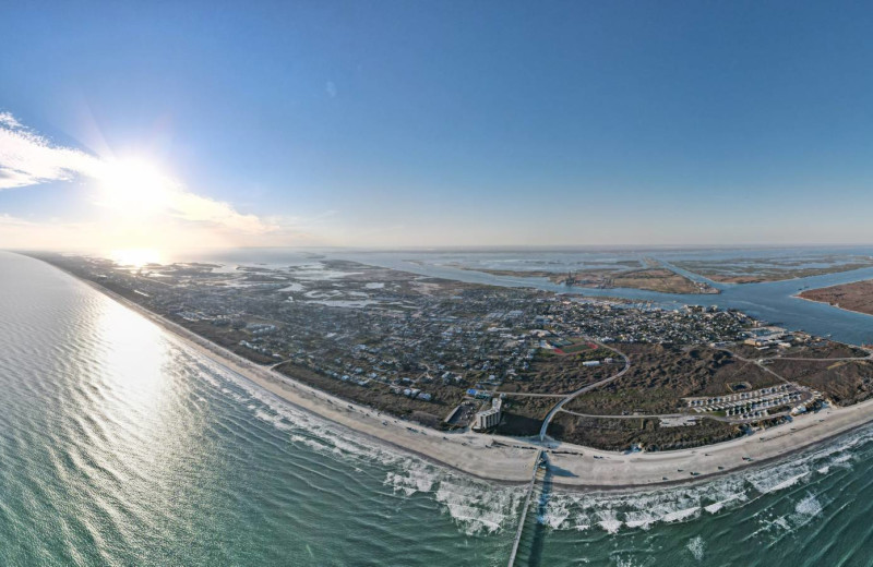 Aerial view of island at Starkey Properties.