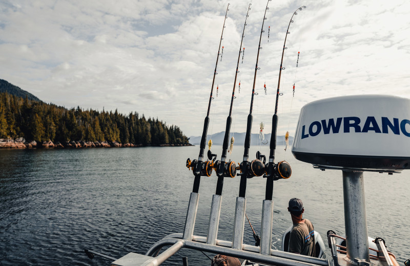Enjoy time on the boat for a fully guided fishing trip at Salmon Falls Resort.