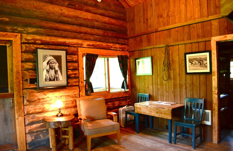 Cabin interior at Red Horse Mountain Ranch.