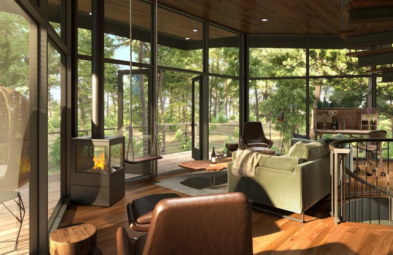 Tree Haus living room at The Green O.