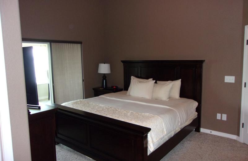 Condo bedroom at Thousand Hills Golf Resort.