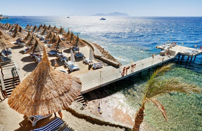 The beach at Jolie Ville Mövenpick Golf Hotel & Resort Sharm El-Sheikh.