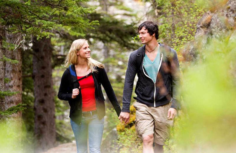 Couple hiking at Quail Lodge Resort.
