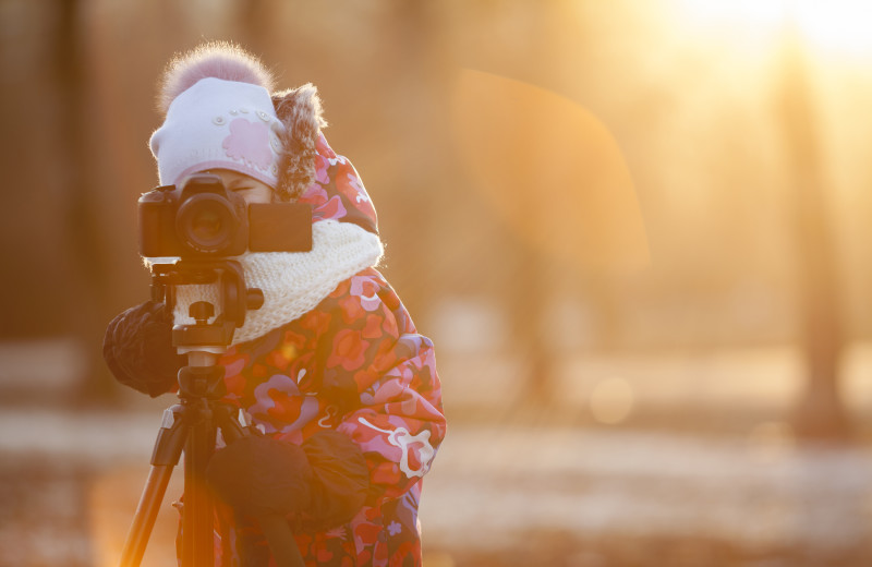 Winter photographer at Adobe Resort.