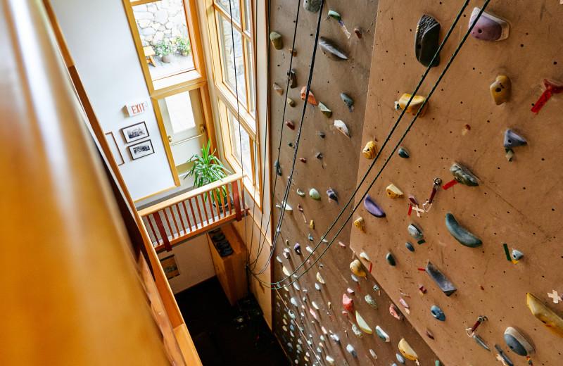 Indoor rock climbing at CMH Bugaboos Lodge.