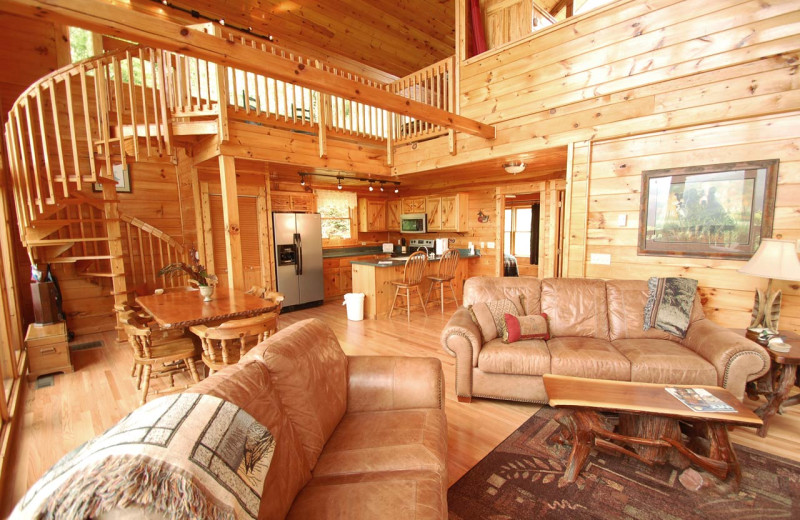 Cabin living room at Watershed Cabins.