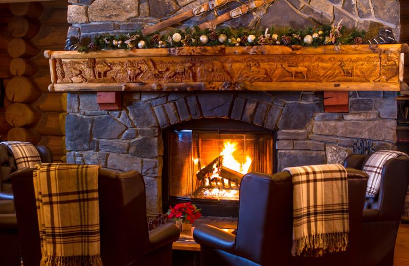 Fireplace at Island Lake Lodge.