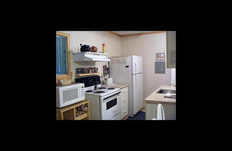 Cabin kitchen at Cheechako Cabins.