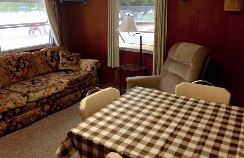 Cabin interior at Barefoot's Resort.