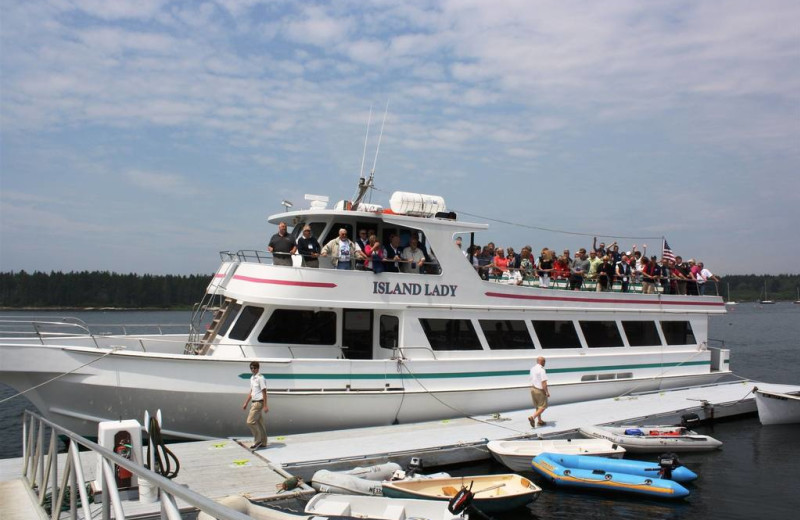 Group boating at Sebasco Harbor Resort.