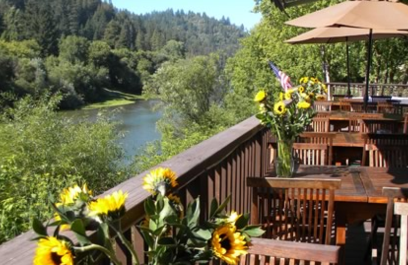 Porch view at Highland Dell Lodge.