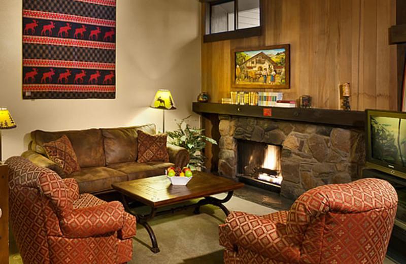 Condo living room at Aston Lakeland Village.