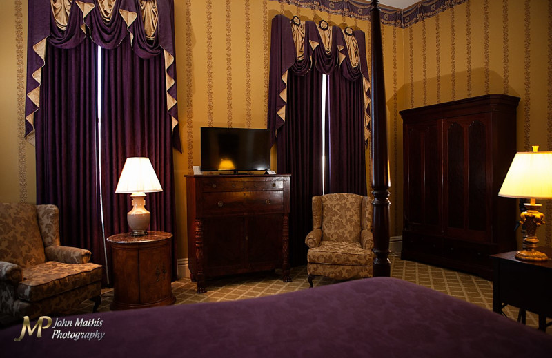 Guest room at Radisson Natchez Eola Hotel.