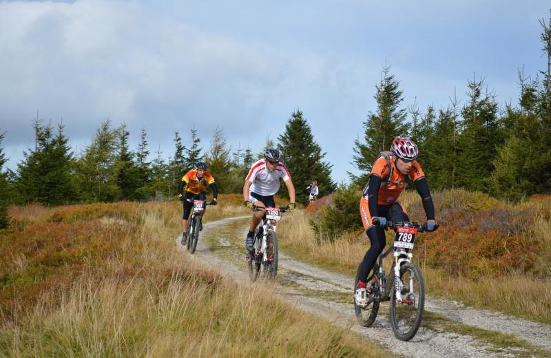 Biking at Harpole's Heartland Lodge.