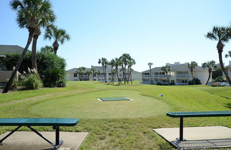Golf course and picnic pavillion at Sandpiper Cove.
