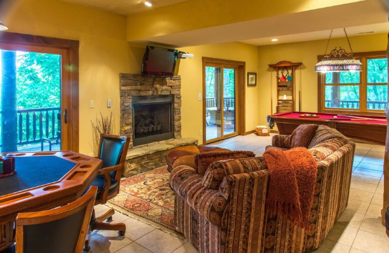 Cabin game room at Smoky Mountain Getaways.