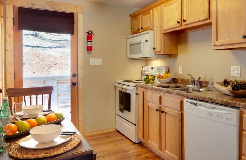 Cabin kitchen at Carolina Mornings.
