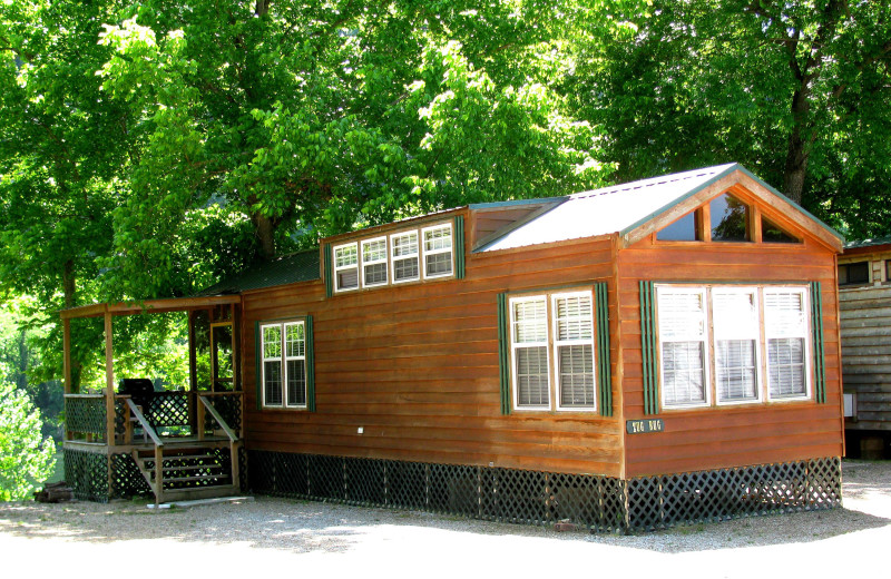 Cabin exterior at Copper John's Resort.